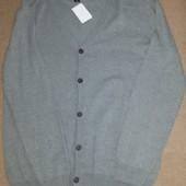 Серый мужской кардиган на пуговицах от Takko Fashion, размер L (наш 50-52)