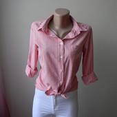 Трендовая рубашка в мелкую розовую клетку Размер  10/38/S-М