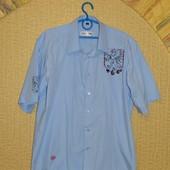 Рубашка мужская голубая короткий рукав р. 52-54  Milestone (майлстоун)