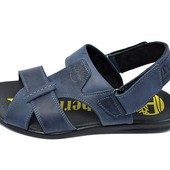 Мужские кожаные сандалии Timberland T2 синие (реплика)