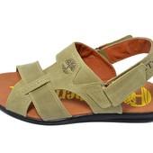 Мужские кожаные сандалии Timberland T2 оливковые (реплика)