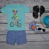 1 - 2 года 92 см Обалденная фирменная футболка футболка стильному мальчугану