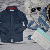 1 - 2 года 92 см фирменная обалденная джинсовая  рубашка моднику