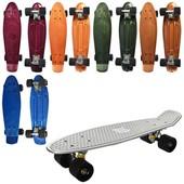 Скейт, пенни, 55*14,5см, алюм.подвеска, колеса ПУ, металлик,  MS0297