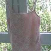 Розовая майка с кружевом 12 размер. Хлопок