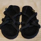 Экологичные черные веревочные сандали- эспадрильи Gurhees Мексика. 40 р.