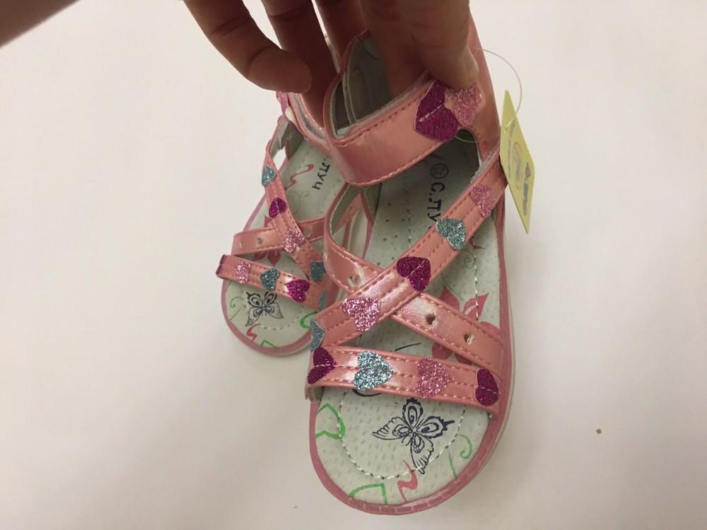 Босоножки с. луч сердечки розовые высокий задник фото №2