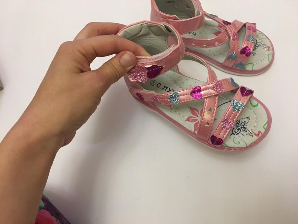 Босоножки с. луч сердечки розовые высокий задник фото №7