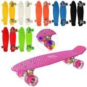 Яркий Скейт Пенни борд Penny board, пениборд светящиеся колеса. Классный