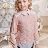 Нарядные школьные блузки цвет молочный и пудра