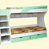 Детская двухъярусная кровать с ящиком для белья