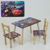 """Столик и два стульчика деревянные """"Тачки"""" С 098"""