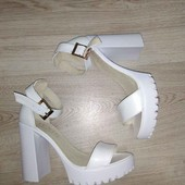 Босоножки кожаные на устойчивом каблуке, р. 36-40, код ks-2336