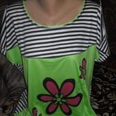 Красивая женская футболка с цветочком большой размер