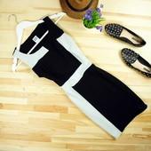 xs-s Двухцветное платье в рубчик по фигуре!