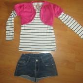 Одежда на 7-8 лет. рост 122-128. кофта + шорты джинсовые + болеро