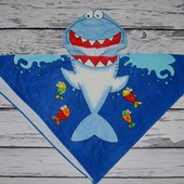 Фирменное Детское полотенце пончо Акула с капюшоном