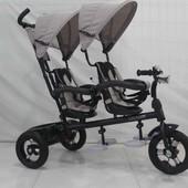 Трехколесный велосипед-коляска двухместный для двойни Azimut Crosser Twins М-300 Air