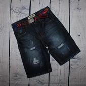 Джинсовые шорты с потертостями мальчику на 6 лет, рост 116 см