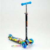 Детский самокат трехколесный с цветными светящимися колесами Бест Скутер Best Scooter Maxi