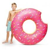 Надувной круг пончик большой розовый, 120см