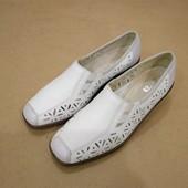 Мокасины туфли Ara с перфорацией летние кожаные белые