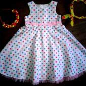 Нарядное платье в горох Tu на 3-4года(98-104см)!!!