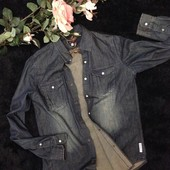 Крутейшая брендовая джинсовая рубашка от armani jeans
