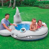Детский надувной бассейн Кашалот с фонтаном Intex 57433, «Акула» душ, сливной клапан