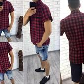 Рубашка клетка мужская (короткий рукав) 46,48,50,52 (2с