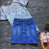 Трендовая джинсовая юбка с пуговицами Denim Co р-р ХЛ