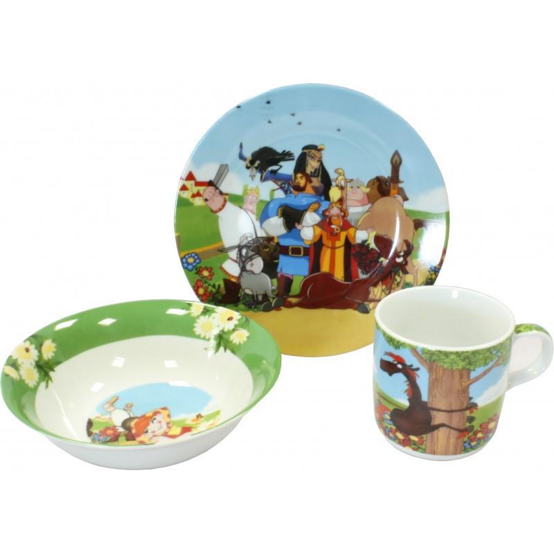 Детский набор посуды из фарфора Добрыня Никитич , 3 предмета фото №1