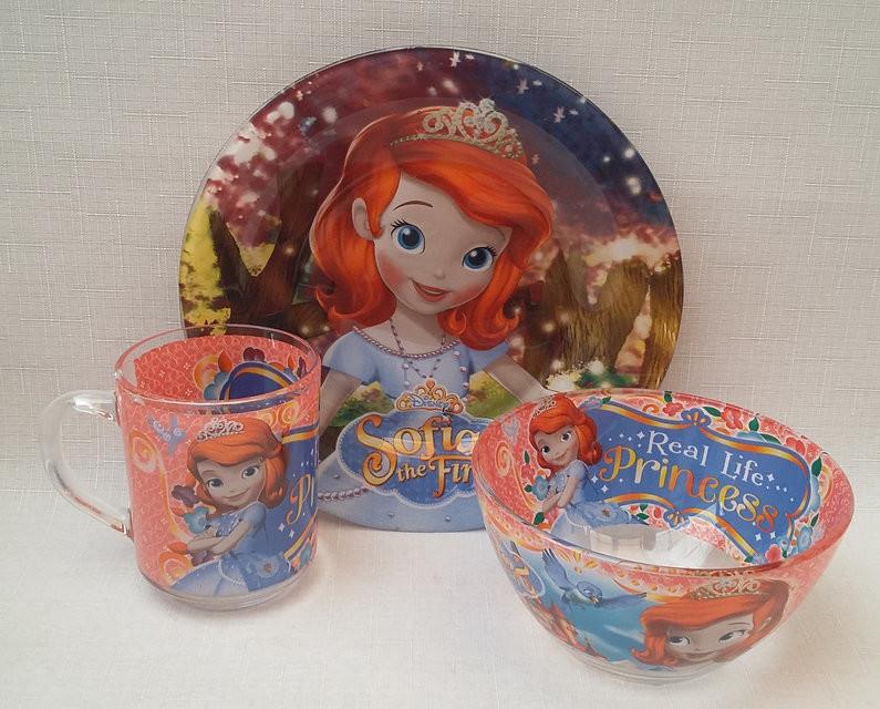 Детский набор посуды Принцесса София из 3 предметов фото №1