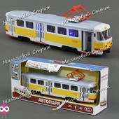 Игрушечный инерционный трамвай 9708 Tatra, свет, звук, фразы, открываются двери