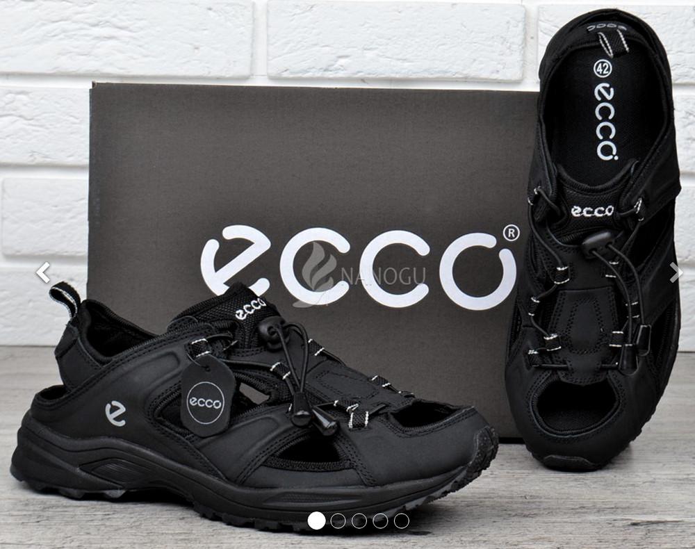 Сандалии мужские кожаные черные Ecco спортивные фото №1