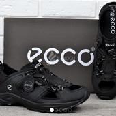 Сандалии мужские кожаные черные Ecco спортивные