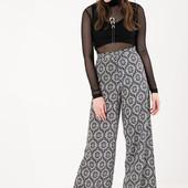 новые трендовые штаны женские брюки высокая талия широкие 38