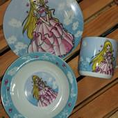 Детский набор посуды из керамики Принцесса, 3 предмета