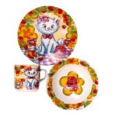 Детский набор посуды из керамики Кошечка, 3 предмета