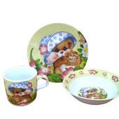 Детский набор посуды из керамики Медвежонок, 3 предмета