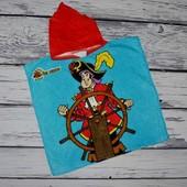 Фирменное Детское полотенце пончо махровое с капюшоном пират