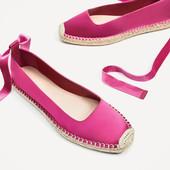 Шикарные модные  женские балетки-эспадрильи Zara (испания) 38 размер новые в наличии