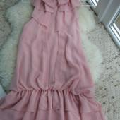 Платье с бантом пудра M-L-размер