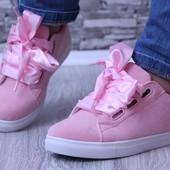 """""""кеды розовые с шнурками"""