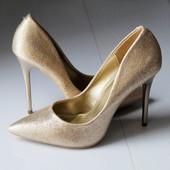 Женские туфли лодочки золотые