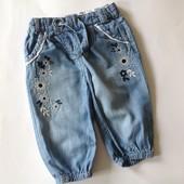 джинсовые бриджи с вышивкой