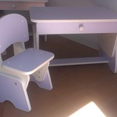 Столик и стульчик с регулировкой высоты. Лаванда/белый. Николаев.