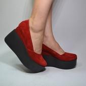 Новинка!!! туфли кожа/замша натуральая Модель: 21700-81, красный замш