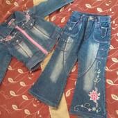 Комплект джинсовый для девочки 98-110 см