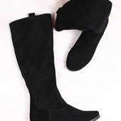 Демисезонные женские сапоги, черные, из натуральной замши, без каблука, на низком ходу